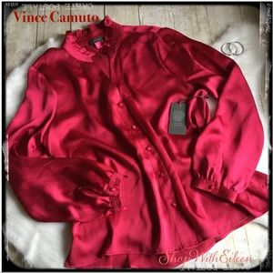 Vince Camuto Red Mock Neck Button Front Blouse
